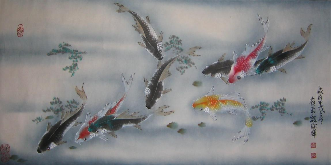 Nine Fishes (九魚圖) by 魏珍輝