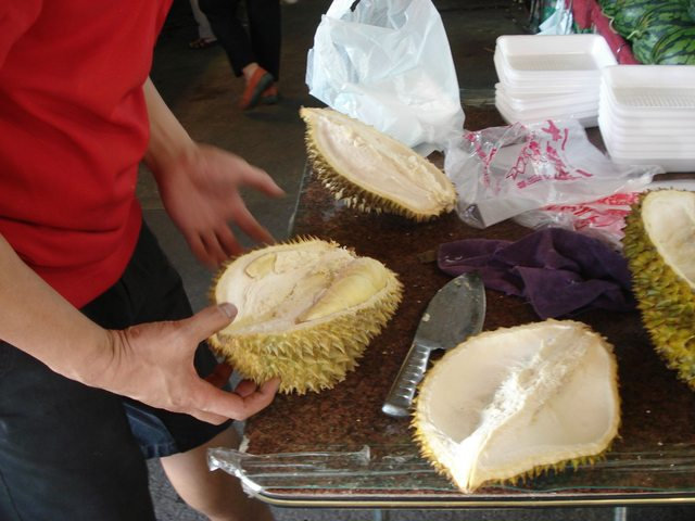 Durians split open