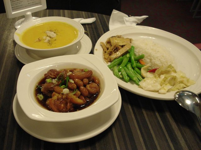 Pork Chunks Meal with Pumpkin soup at Chef Teng