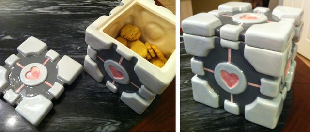Companion Cube Cookie Jar - Vanilla Coconut Flour Cookies