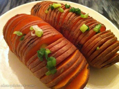 Easy Hasselback Sweet Potatoes