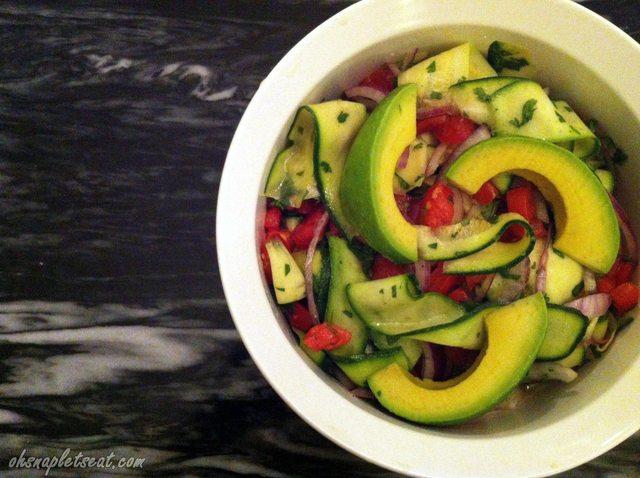 Beautiful Zucchini Ribbon Salad with Avocado