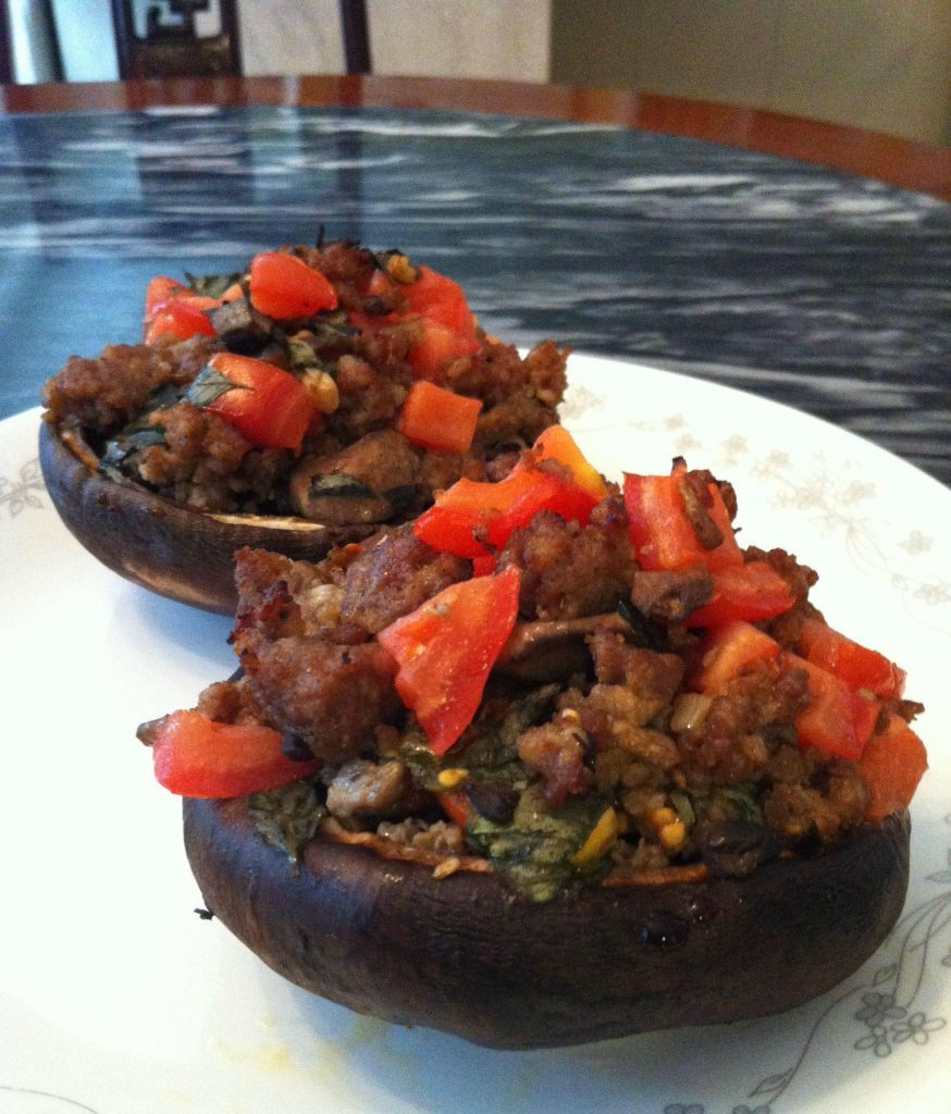 Stuffed Mushroom with Tomato, Basil, and Sausage