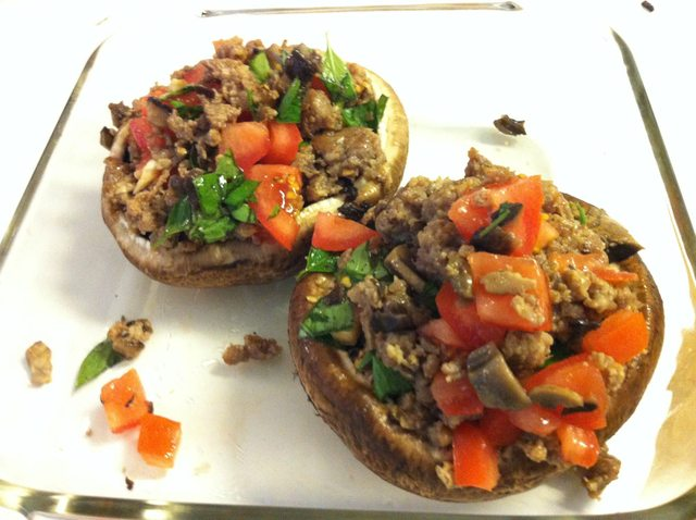Tomato Basil Sausage Stuffed Portobello Mushrooms