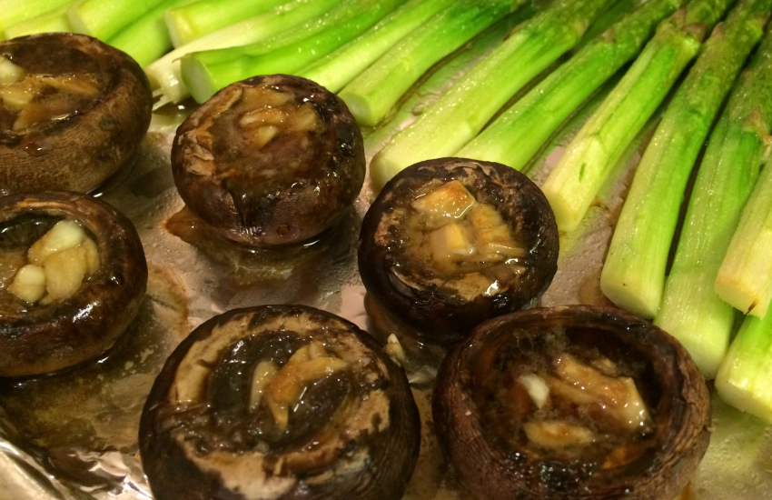 Oven Baked Garlic Baby Portobello Mushrooms (A Super Easy Oven Baked Dinner Part II)