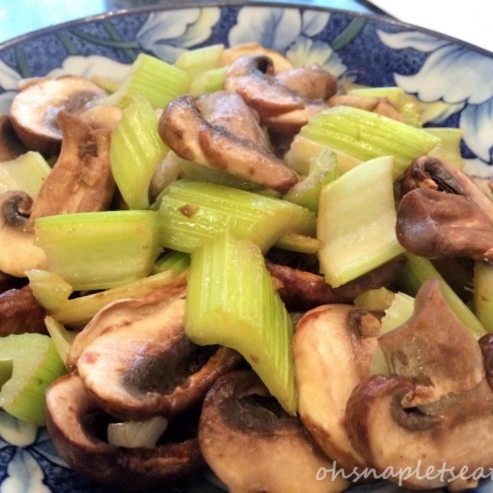 Simple Mushroom and Celery Stir Fry (Whole30, Paleo, Gluten Free, Vegan)