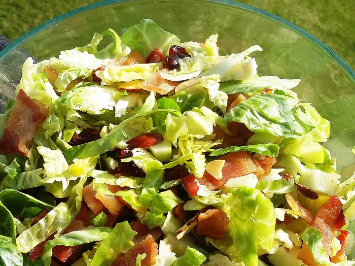 Mom's Shaved Brussels Sprouts and Bacon Salad