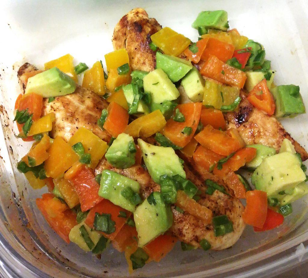 Cilantro-Lime Chicken with Avocado Pepper Salsa