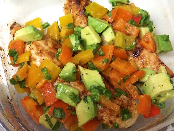 Cilantro Lime Chicken with Avocado Pepper Salsa