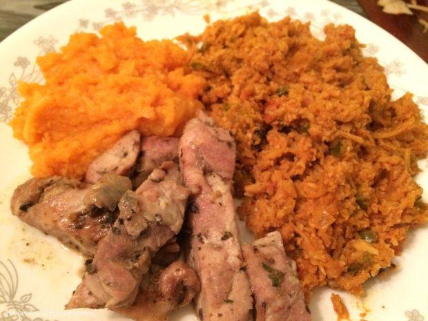 Root Veggie Mash, Cauliflower Rice, Chicken Puttanesca