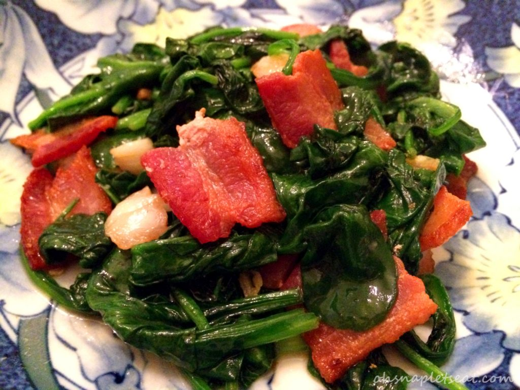 Spinach with Bacon and Garlic Stir Fry