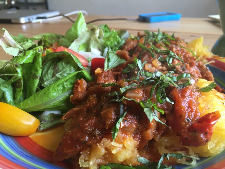 Roasted Spaghetti Squash with Grilled Marinara (Paleo, Plant-Based)