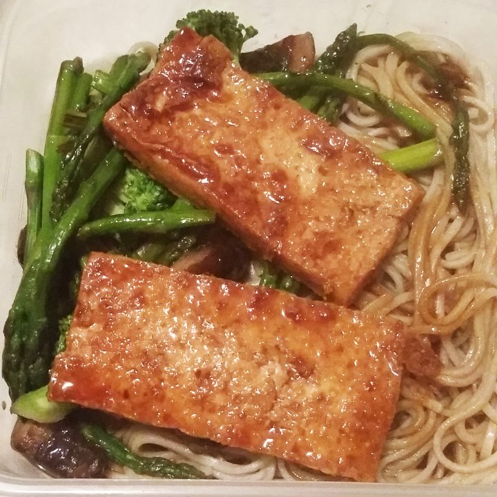 Soba Noodles with Glazed Tofu and Stir Fried Veggies (Gluten Free and Vegan)