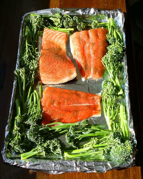 One-Pan Roasted Salmon and Broccolini
