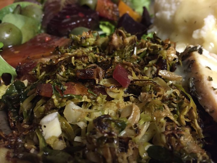 Paleo Roasted Bacon Sliced Brussels Sprouts