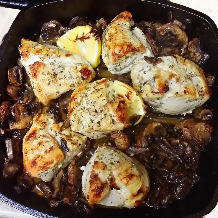Pan Roasted Rosemary Chicken and Mushrooms