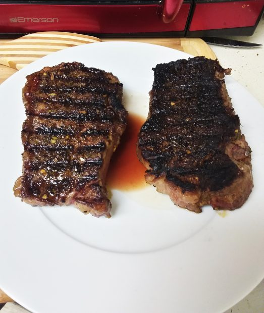 Strip Steak with Red Wine Mushroom Sauce and Mustard Roasted Asparagus