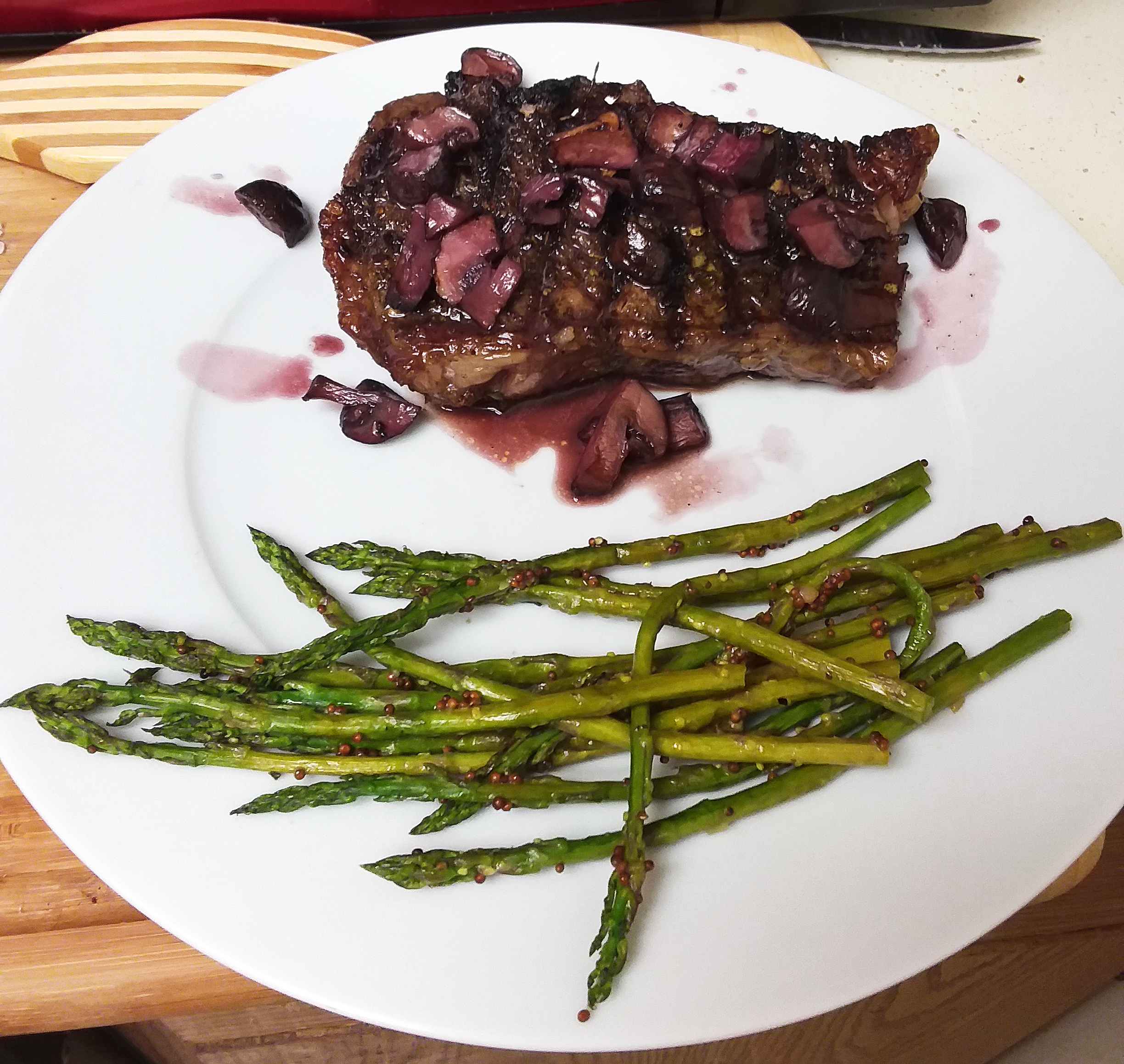 Steak and Mushrooms with Pan Sauce and Mustard Roasted Asparagus