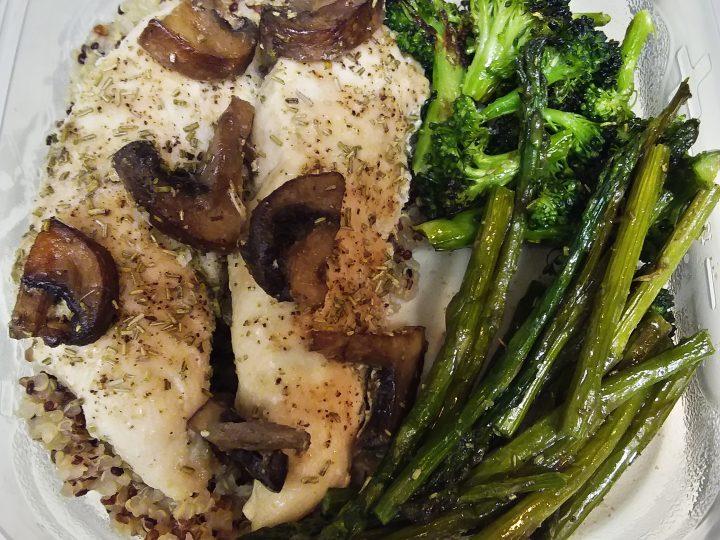 One-Pan Roasted Chicken and Veggies (Broccoli, Asparagus, Crimini Mushrooms)