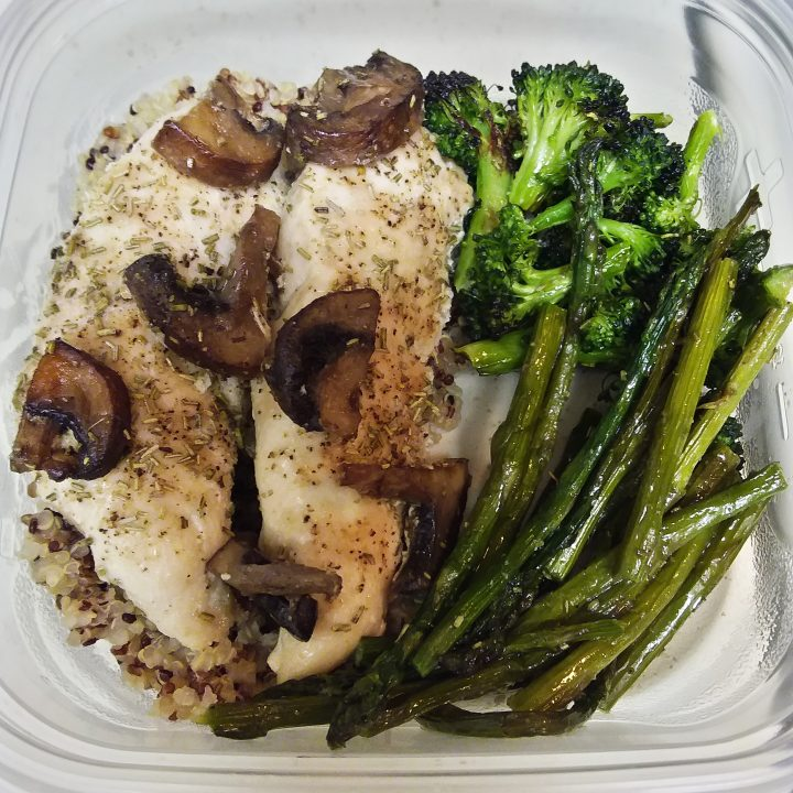 One-Pan Roasted Chicken and Veggies (Broccoli, Asparagus, Crimini Mushrooms)
