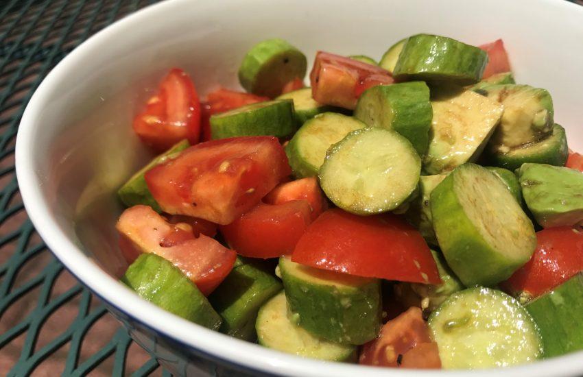 Balsamic Tomato Cucumber Avocado Salad