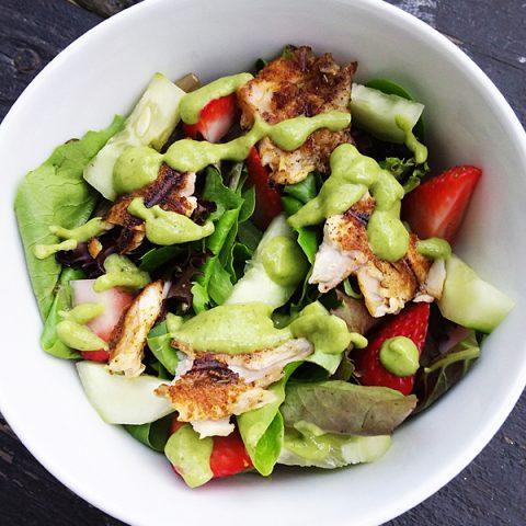 Blackened Tilapia Salad with Paleo Avocado Dressing