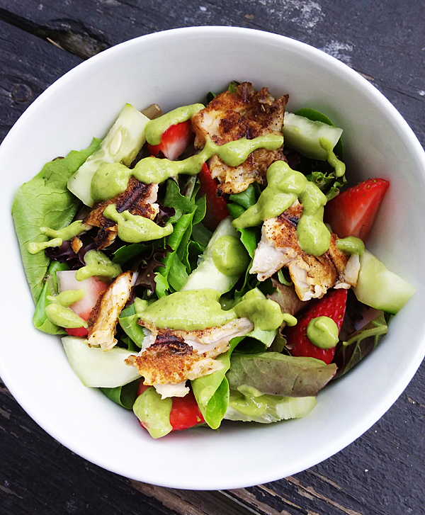 Blackened Tilapia Salad with Paleo Avocado Dressing