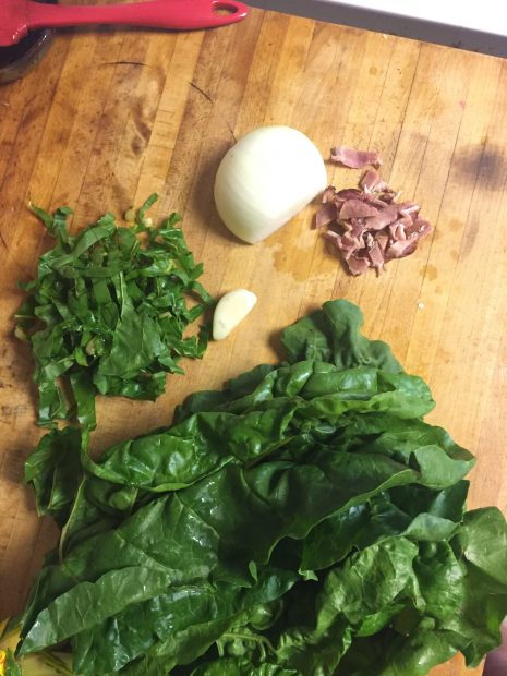 Paleo Mess of Greens with Bacon (with Chard, Collards or Mustard Greens)