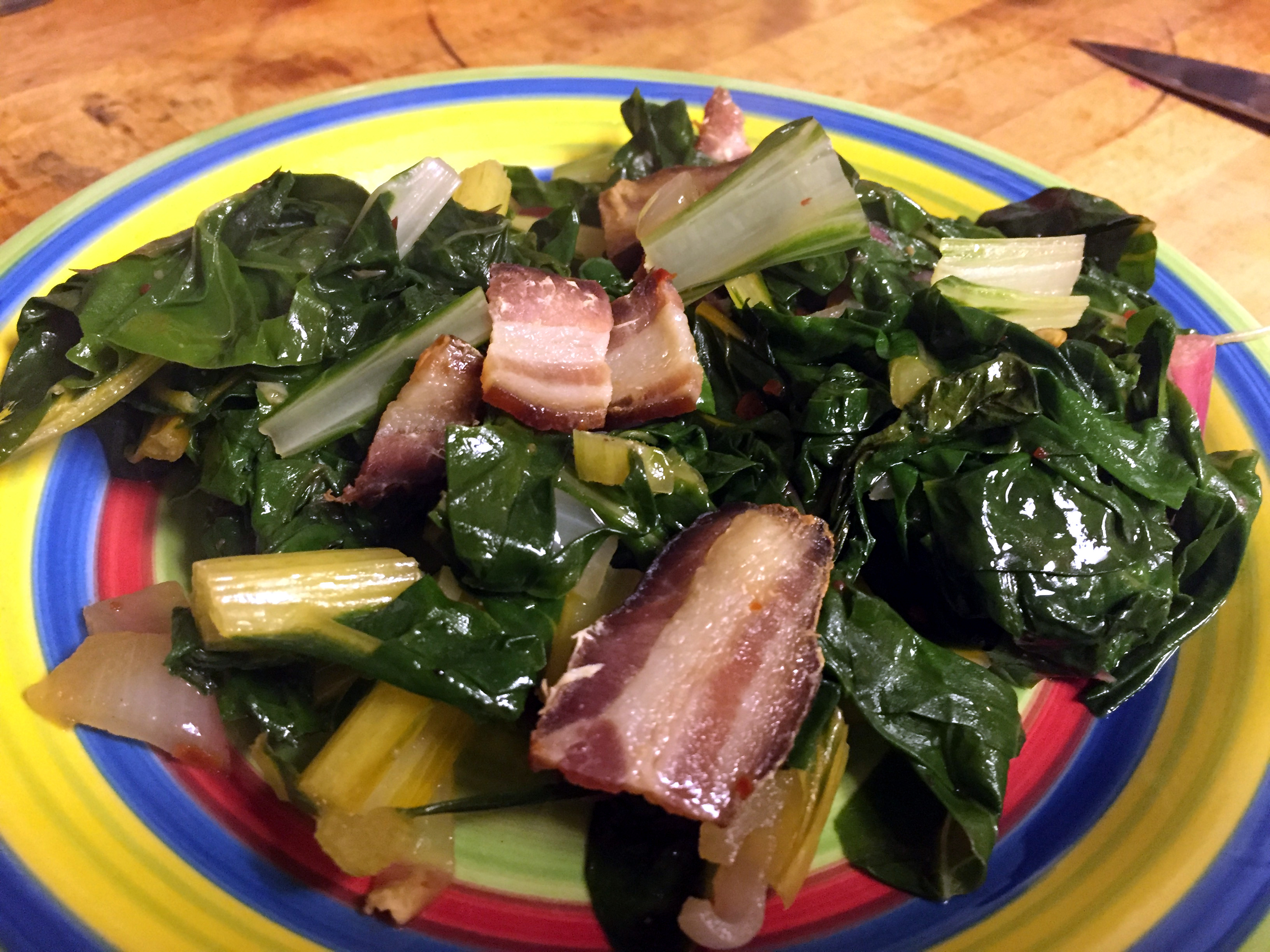 Paleo Mess of Greens with Bacon