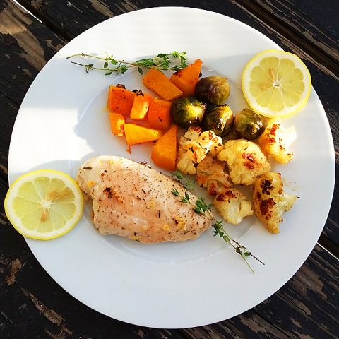 Roasted Lemon-Thyme Chicken with Fall Veggies (Cauliflower, Butternut Squash, Brussels Sprouts)