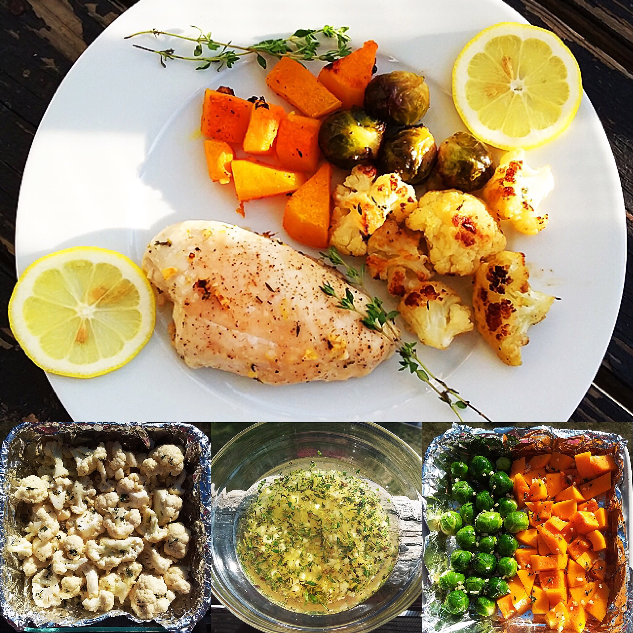 Roasted Lemon-Thyme Chicken with Fall Veggies