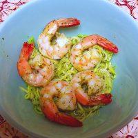 Zucchini Noodles with Sautéed Shrimp in Lemon-Basil Dressing