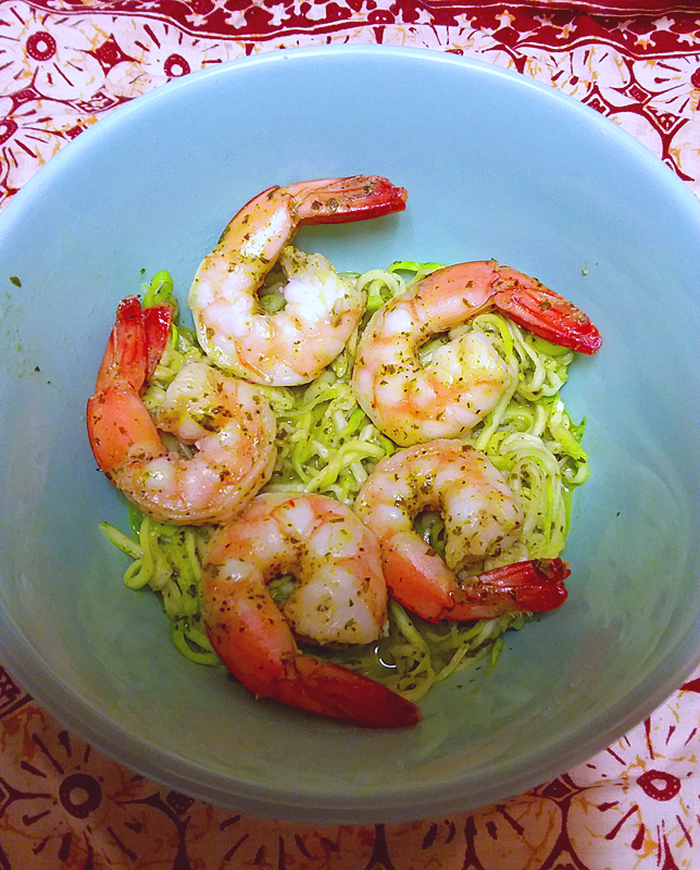 Sautéed Shrimp and Zoodles with Creamy Lemon-Basil Dressing