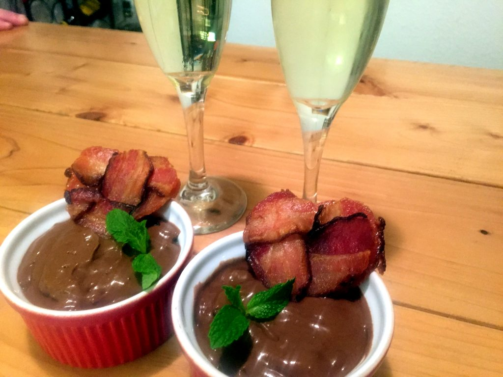 Paleo Mexican Chocolate Pudding with Bacon Hearts