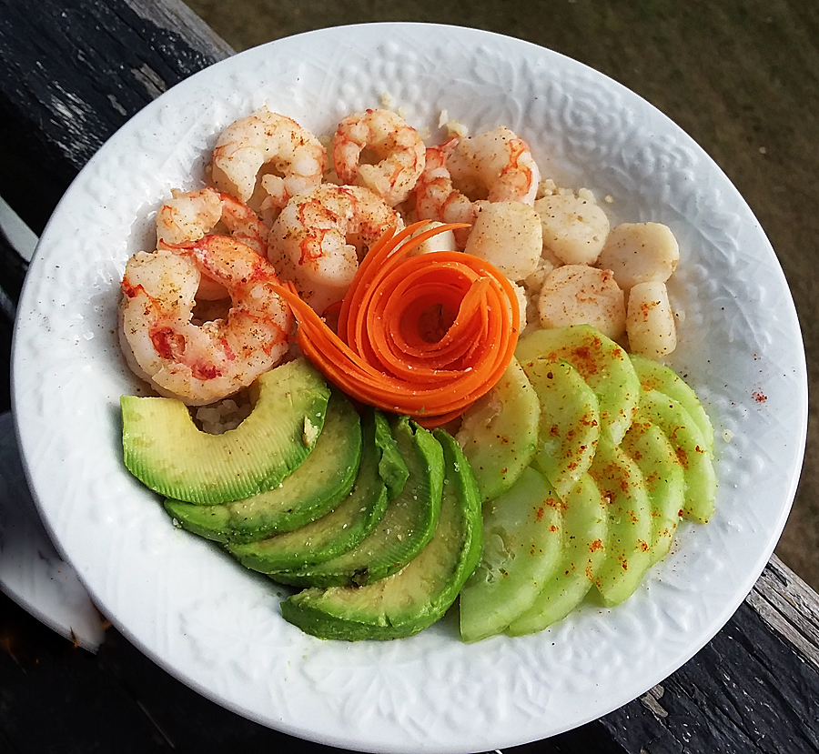 Summer Shrimp and Scallop Paleo Buddha Bowl