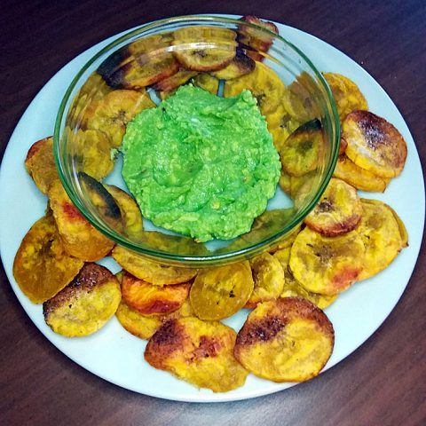 Plantain Chips and Avocado Dip