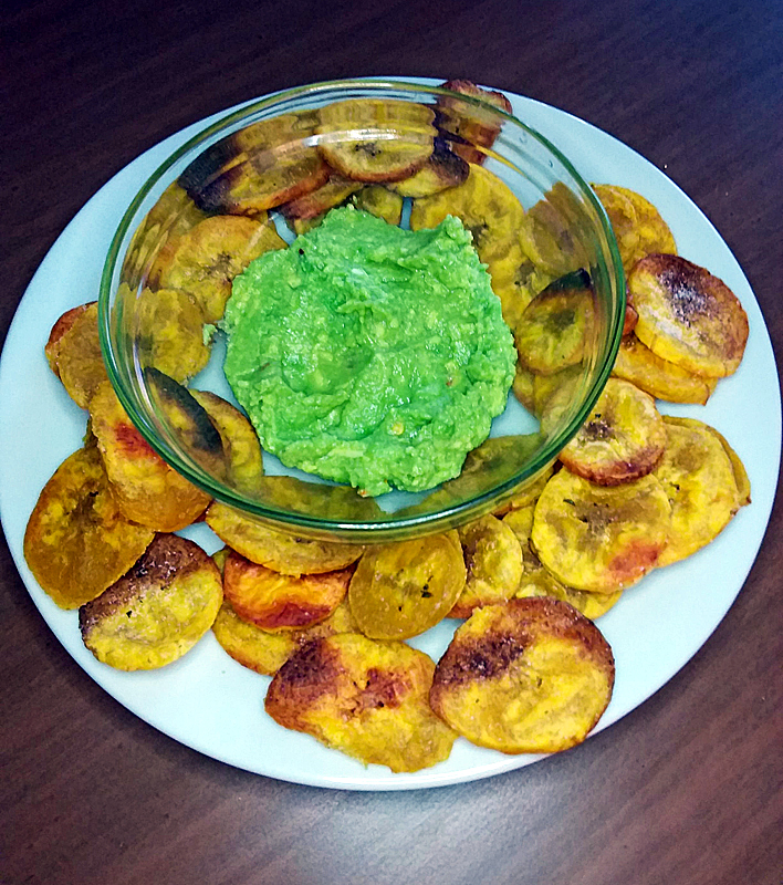 Easy Plantain Chips and Avocado Dip