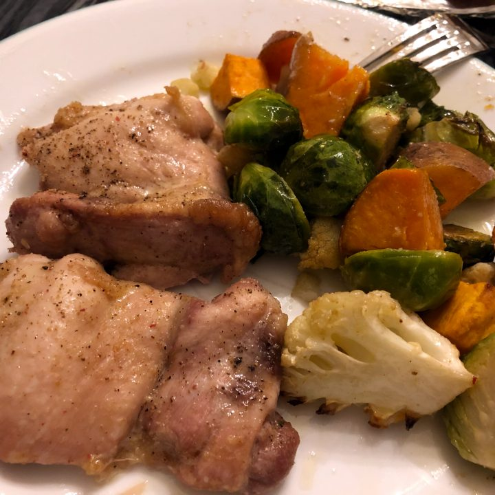 One Pan Oven Roasted Chicken and Veggies (Brussels Sprouts, Cauliflower, Sweet Potatoes)