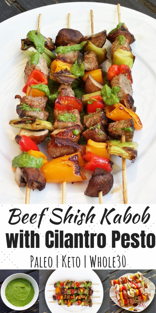 Beef Shish Kabobs with Cilantro Pesto
