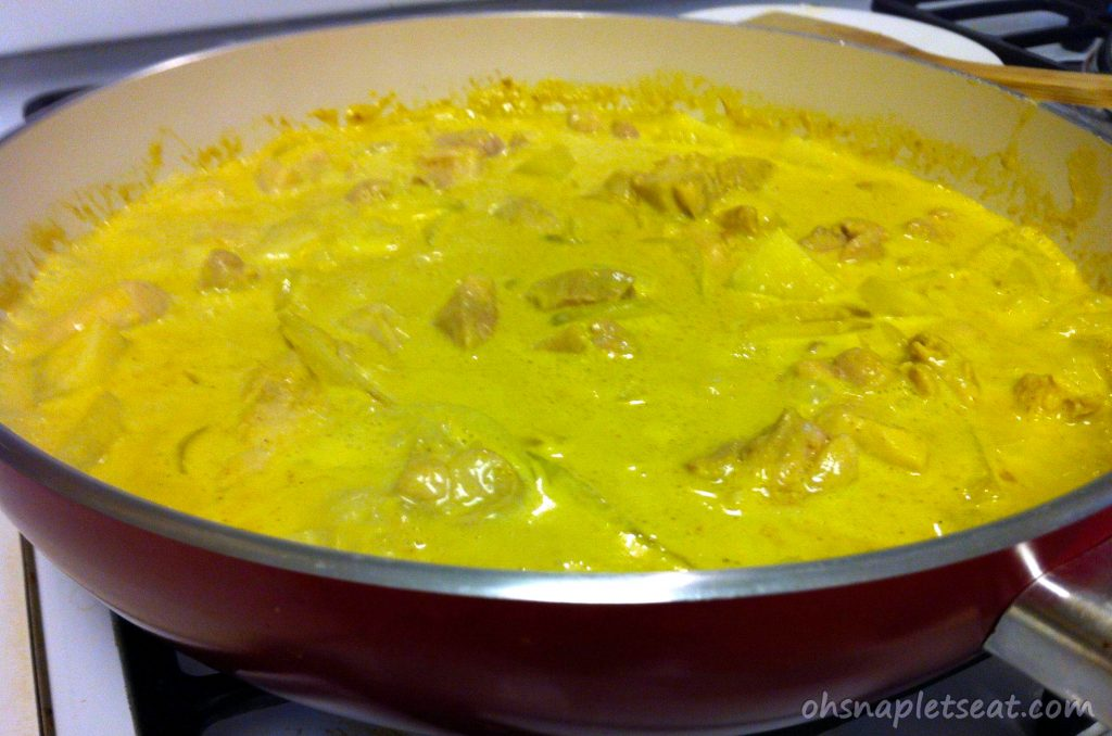chicken curry with coconut milk and potatoes