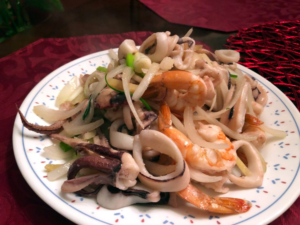 Chinese Seafood Stir Fry with Shrimp and Squid