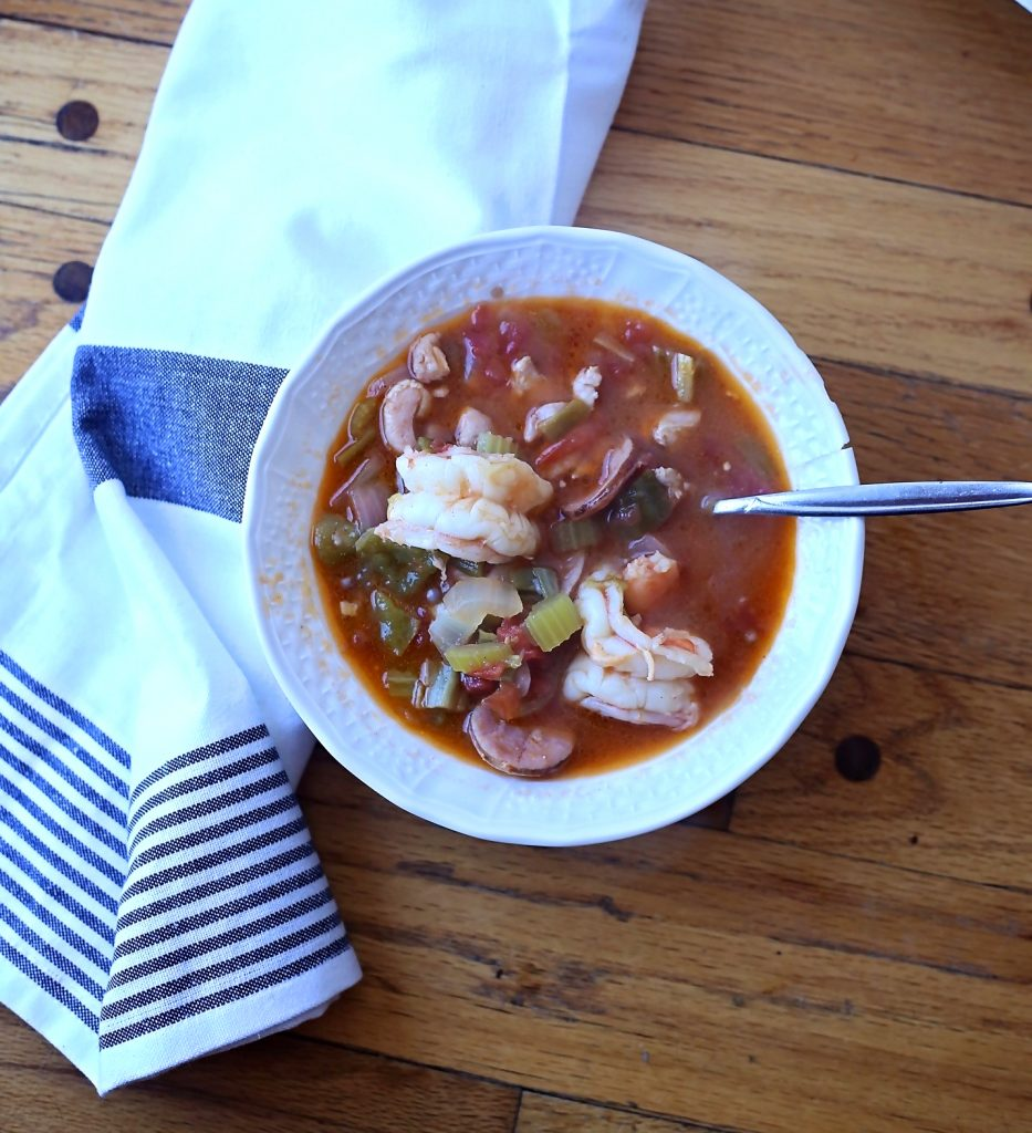 Keto Gumbo with Chicken, Sausage and Shrimp (Paleo, Gluten Free)