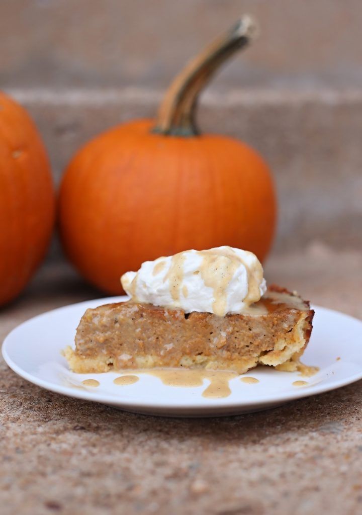 Keto Salted Caramel Pumpkin Pie