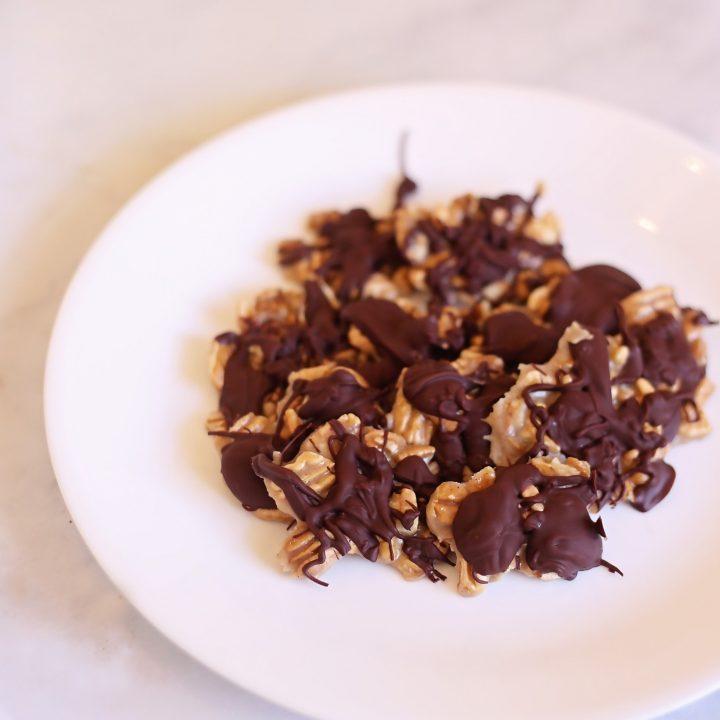 Keto Chocolate Caramel Pecan Clusters