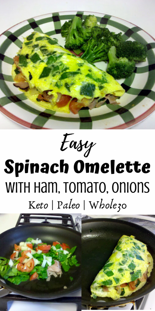 Easy Spinach Omelette with Ham, Tomato and Onions (Paleo, Keto, Whole30)