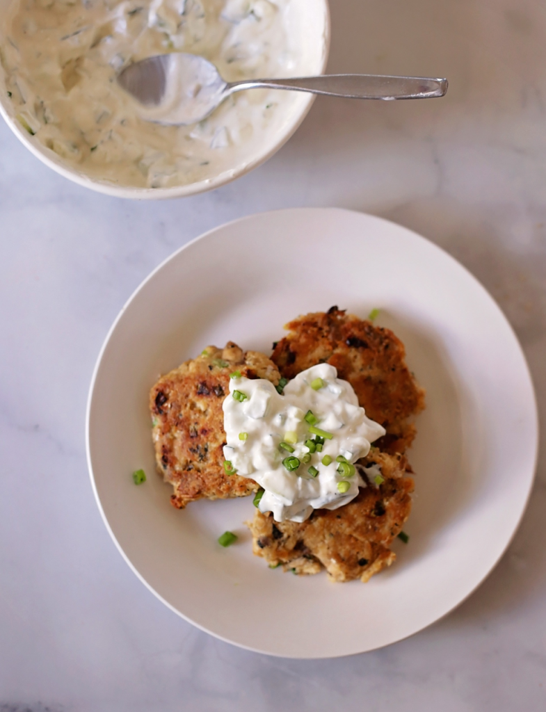 keto salmon patties with cucumber dipping sauce