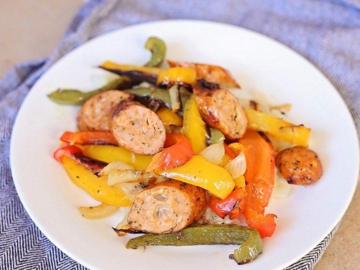 Keto Sheet Pan Sausage and Peppers (Paleo, Gluten Free)