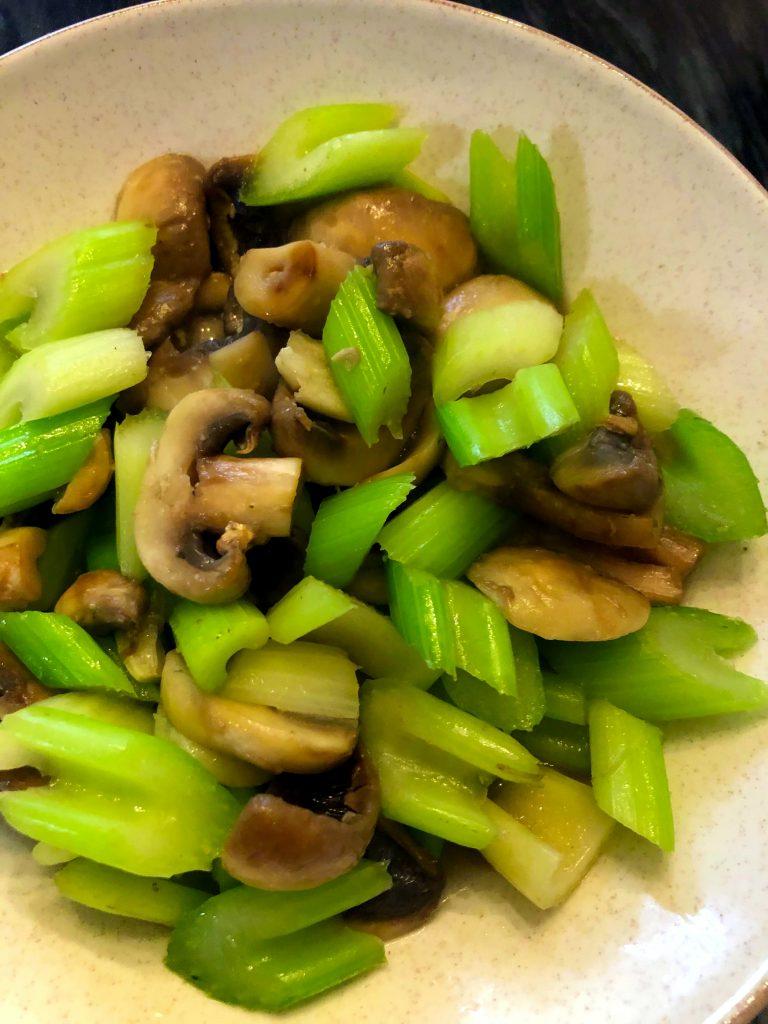 Stir Fry Celery and Mushrooms