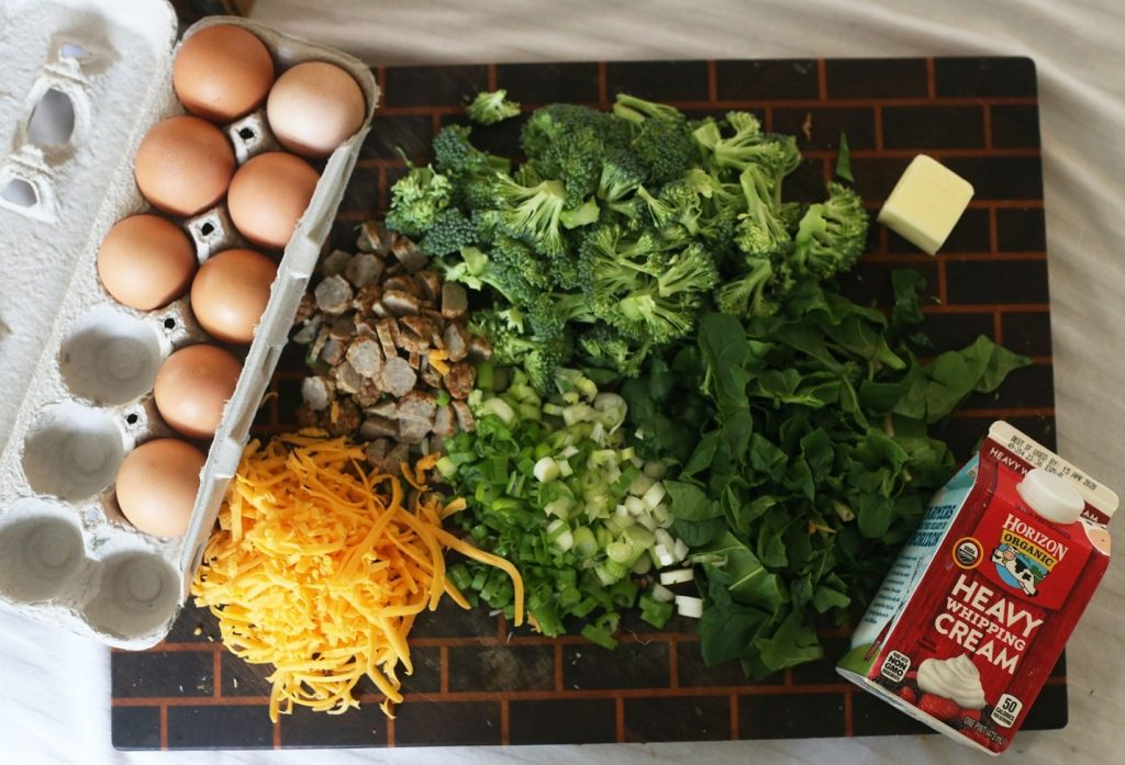 Sausage, Broccoli and Cheddar Frittata  Description automatically generated