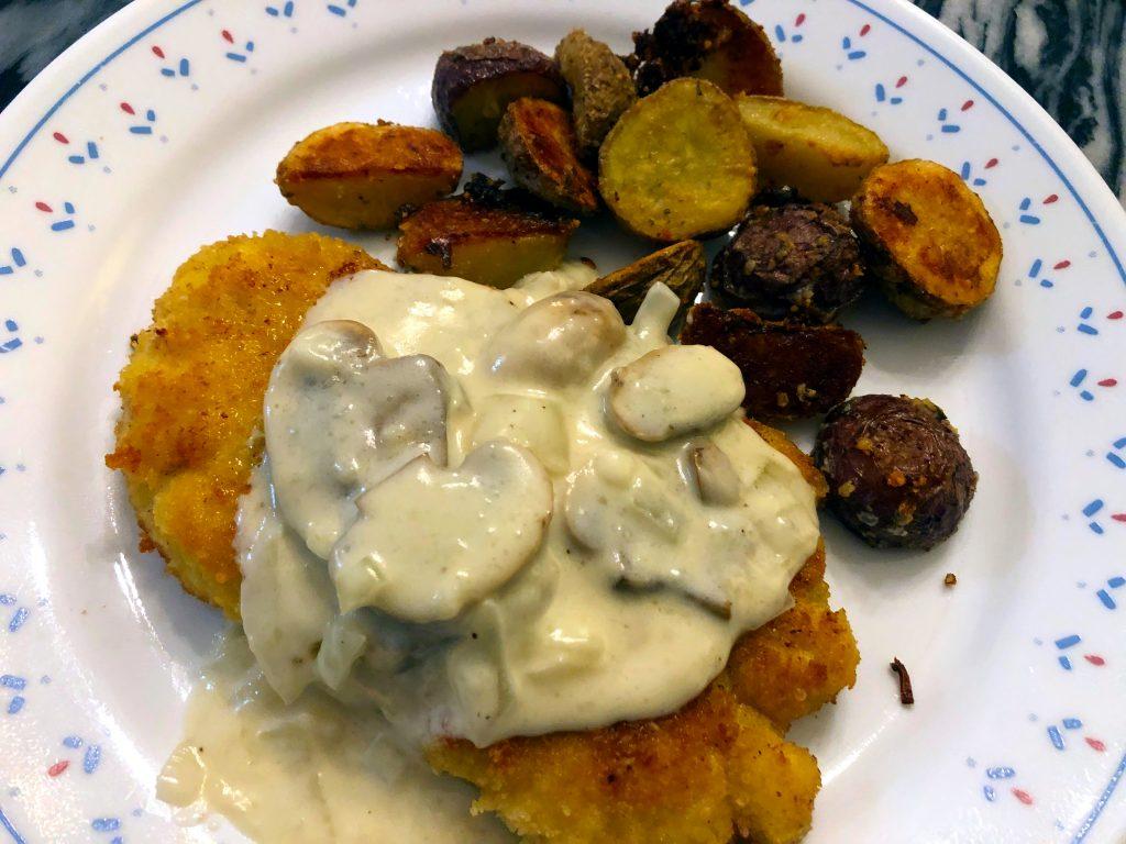 Chicken Schnitzel with Creamy Mushroom Sauce (Gluten Free)